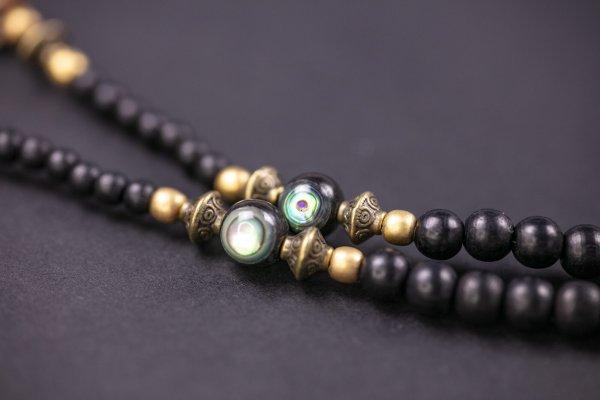 Tiger Eye Black & Bronze Long Beaded Necklace