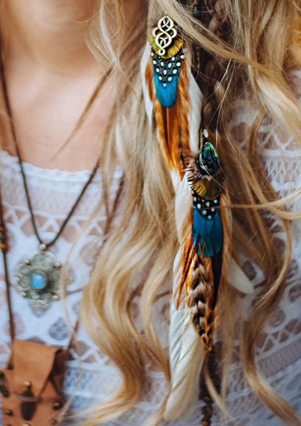 CLASSIC TURQUOISE & CREAM FEATHER HAIR CLIP