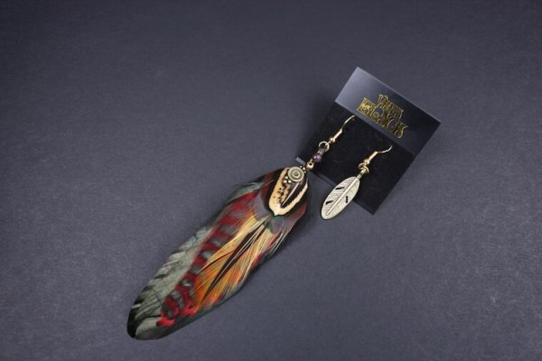 Red & Bronze Detailed Feather Earrings