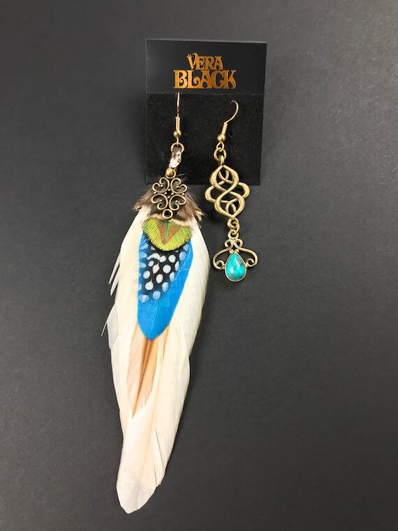 Blue Summer Feather Earrings