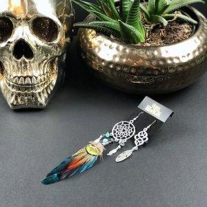 Teal & Silver Dream Catcher Earrings