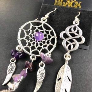Purple Rain Silver Dream Catcher Earrings