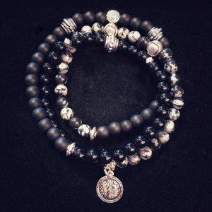 Black Agate-Black Matte-Snowflake Obsidian 3 Wrap Beaded Bracelet