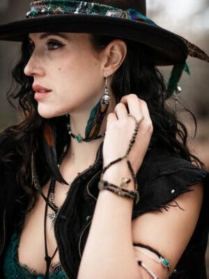 Red Garnet Black Beaded Finger Bracelet by Vera Black