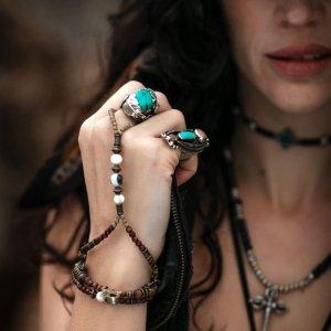 Turquoise Brown Beaded Finger Bracelet by Vera Black