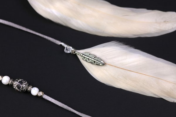 Long White & Silver Feather Hair Clip