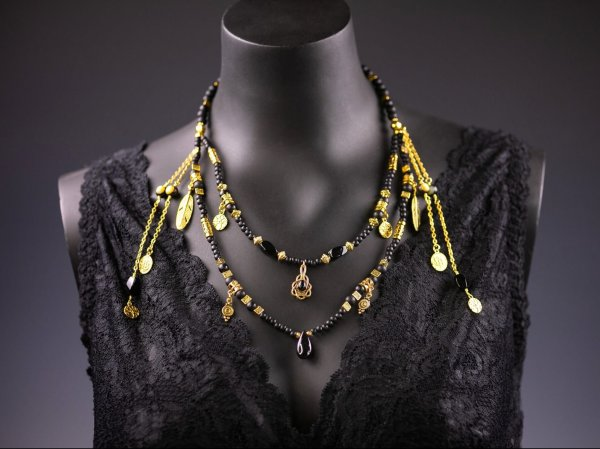 Black & Gold Double Layer Necklace