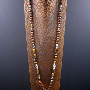 One Of A Kind Long Tiger Eye Pendant Necklace