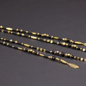 Black & Gold Beaded Hair Clip