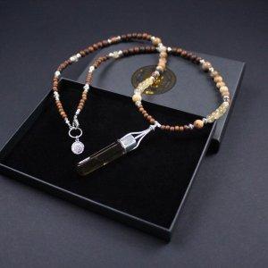 Citrine & Madre De Cacao Beaded Necklace
