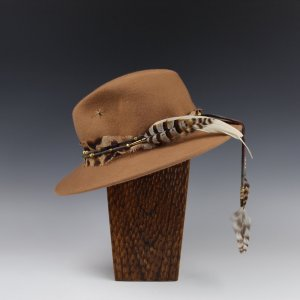 Custom Tan Fedora with Labradorite