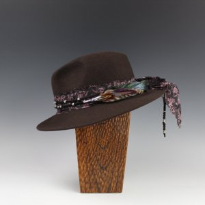 Dark Brown Fedora with Amethyst