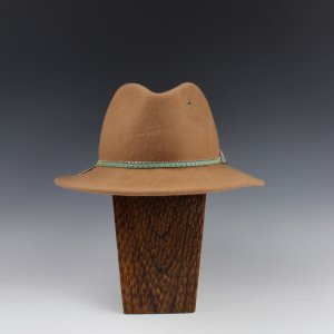 Custom Tan Fedora with Turquoise Hatband