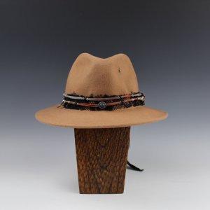Custom Tan Fedora with Lapis Stone