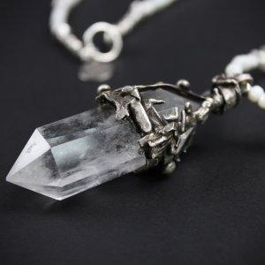Crystal Quartz & Troca Shell Long Necklace