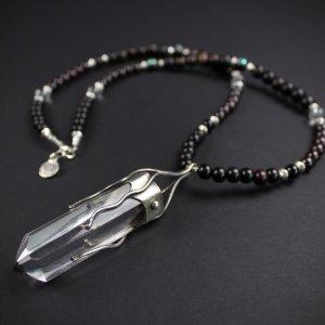 Crystal Quartz & Ebony Wood Long Necklace